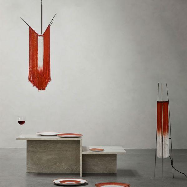 PENDANT LAMP CHAN 1 SCARLET/CREAM by ANN DEMEULEMEESTER - SERAX