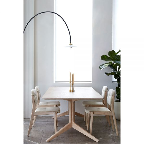 CAPO DINING CHAIR by NERI & HU for De La Espada and Hanging Lamp by Muller Van Severen for Valerie Objects