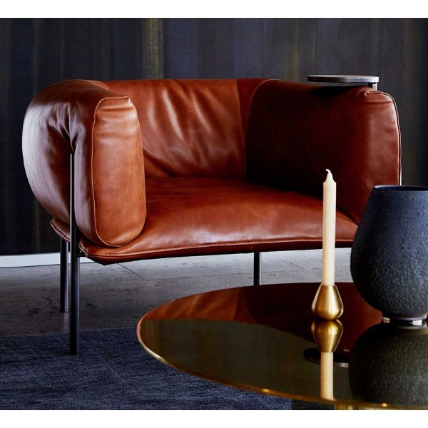 RONDO LEATHER ARMCHAIR by MOLINARI LIVING - photo Andres Ripamonti