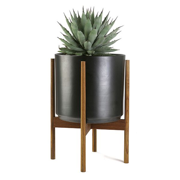 CS PLANTER 12 CHARCOAL / WOOD STAND