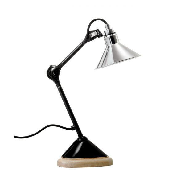 GRAS 207 TABLE LAMP CHROME / OAK BASE