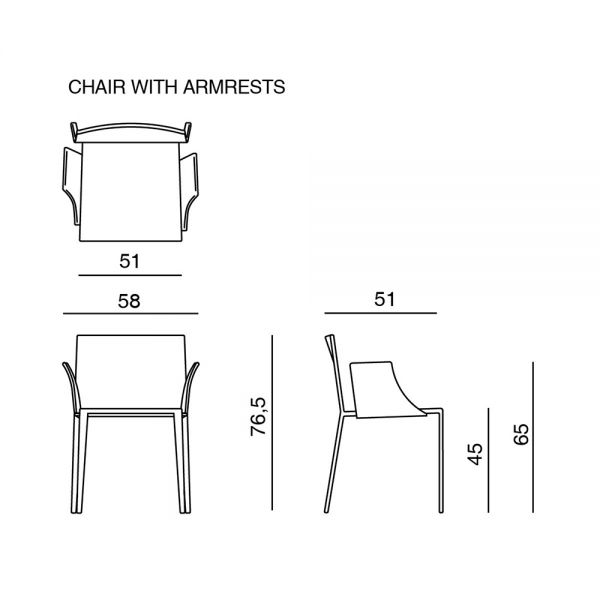 dimensions of MISS UPHOLSTERED DINING ARMCHAIR by MISSONI HOME