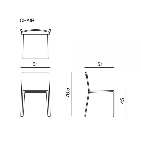 dimensions of MISS UPHOLSTERED DINING CHAIR by MISSONI HOME