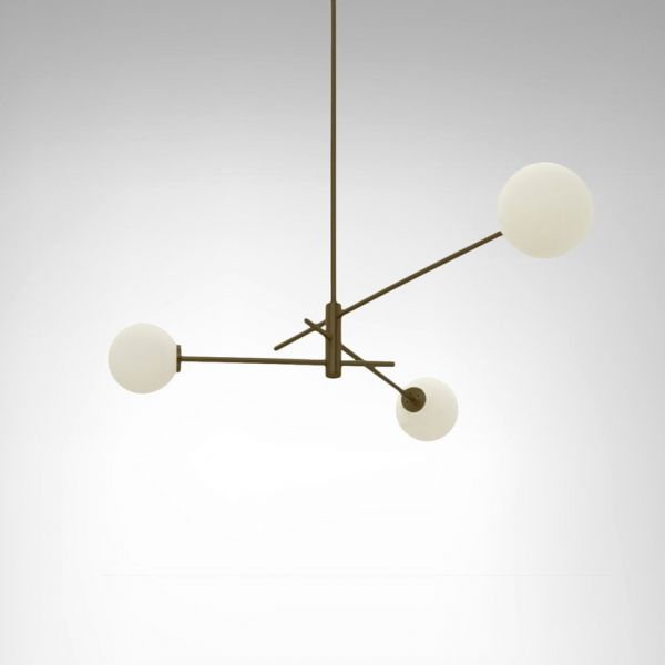TREVI 3 brass PENDANT by CTO LIGHTING