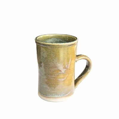CERAMIC MUG YELLOW/GREEN - HAND MADE