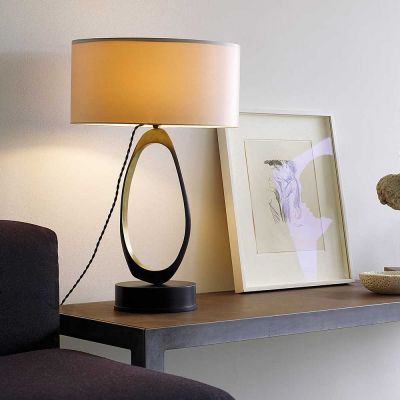 STELLA TABLE LAMP BRASS DOVE GREY SILK