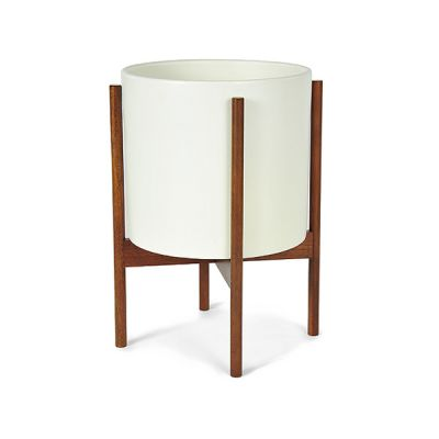 CS PLANTER 12 WHITE / WOOD STAND – MODERNICA