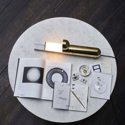 ISP TABLE LIGHT BRASS / WHITE MARBLE