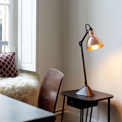 GRAS 205 TABLE LAMP BLACK ROUND COPPER SHADE